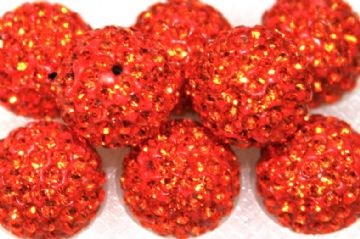 12mm Orange 130 Stone  Pave Crystal Beads - Half Drilled  PCBHD12-130-018